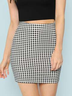 Elastic Waist Plaid Bodycon Skirt