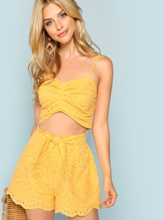 Eyelet Embroidered Ruched Cami Top and Knot Shorts Set