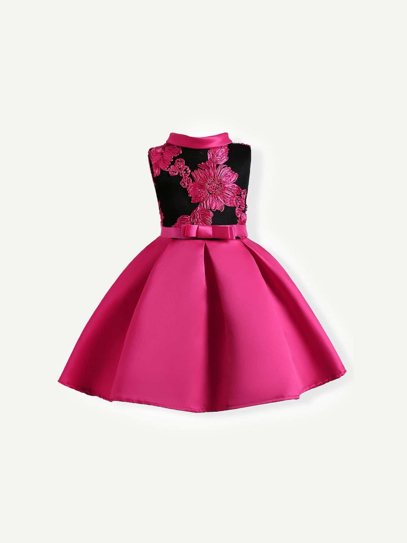 Купить Диско стиль Цветочный принт с бантом Платье A-силуэт ярко-розовый Платья для девочек, null, SheIn