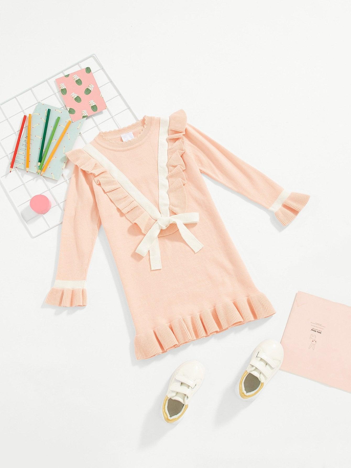 Купить Стиль кэжуал Одноцветный с бантом свитер Розовые Платья для девочек, null, SheIn