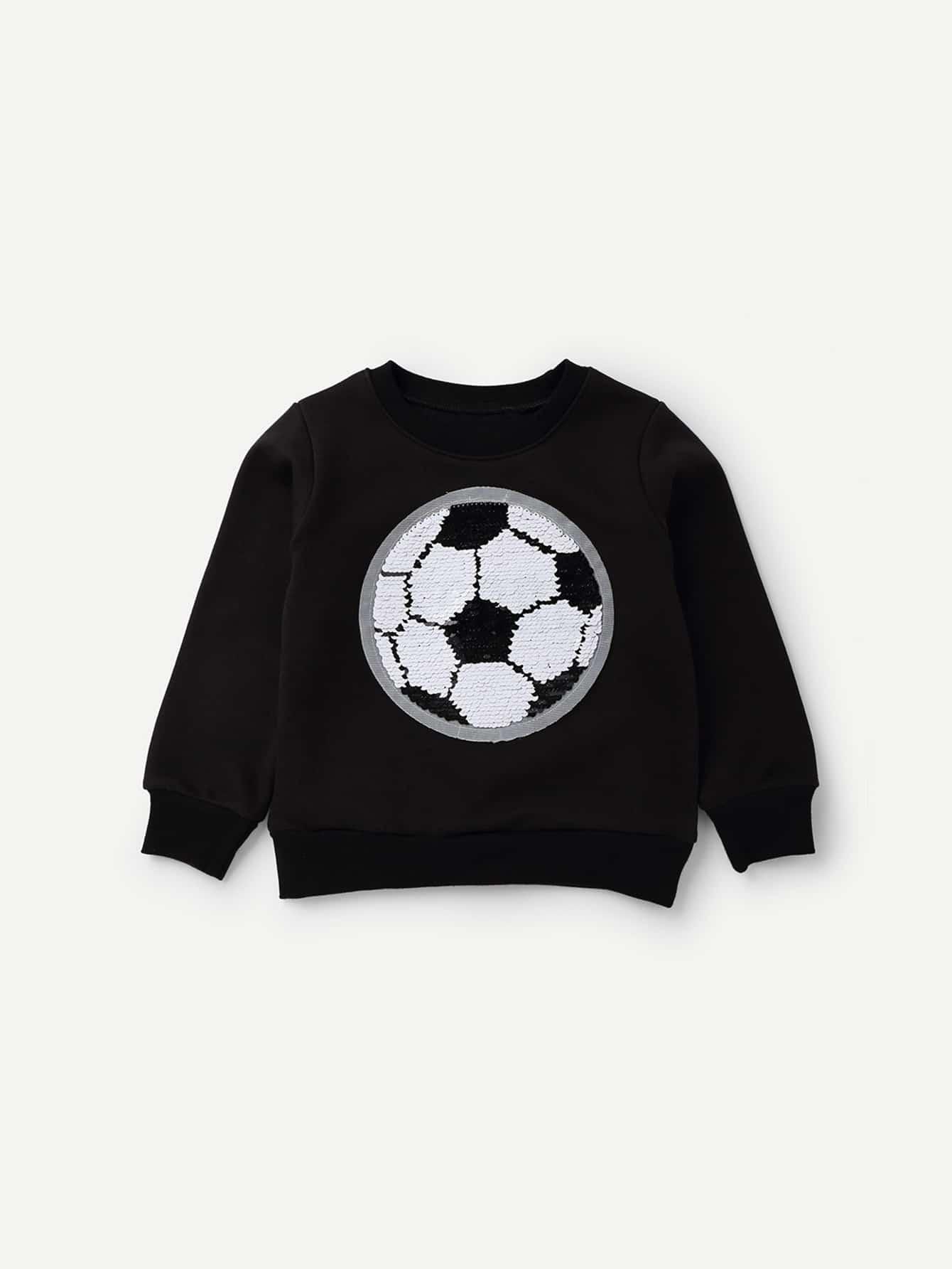 Купить Повседневный Пуловеры Черный Свитшоты для мальчиков, null, SheIn