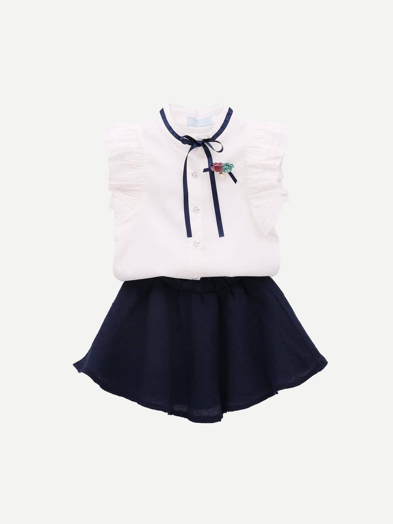 Купить Повседневный стиль Ровный цвет Кайма Темно синий Комплекты для девочек, null, SheIn