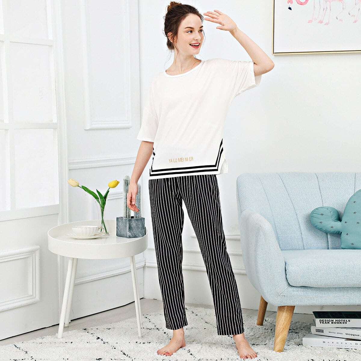 Zwart & wit Casual Gestreept Lounge kleding Split