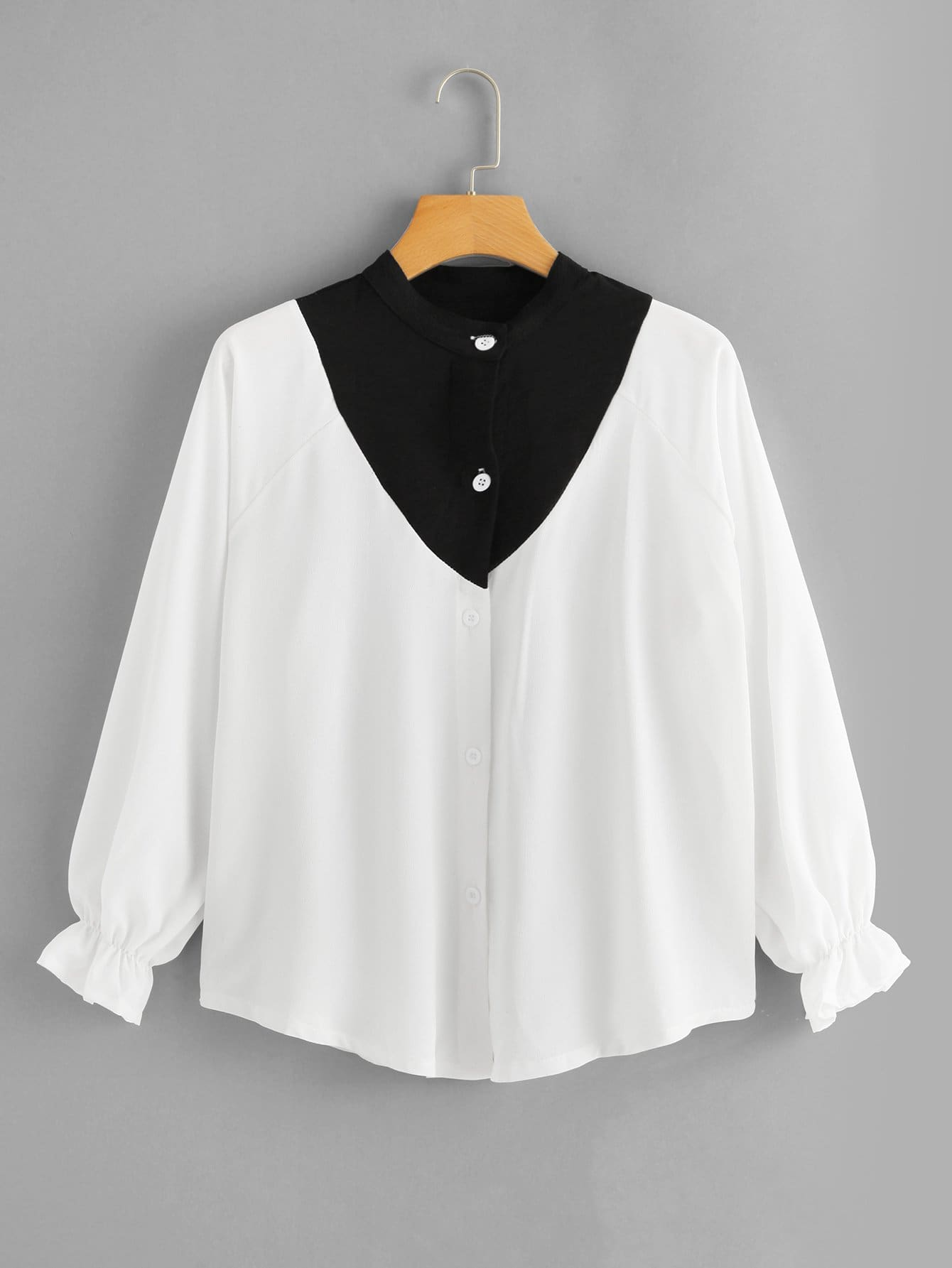 Color Block Raglan Sleeve Blouse