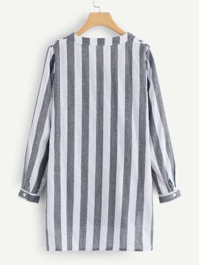 Romwe / Striped Dip Hem Shirt Dress