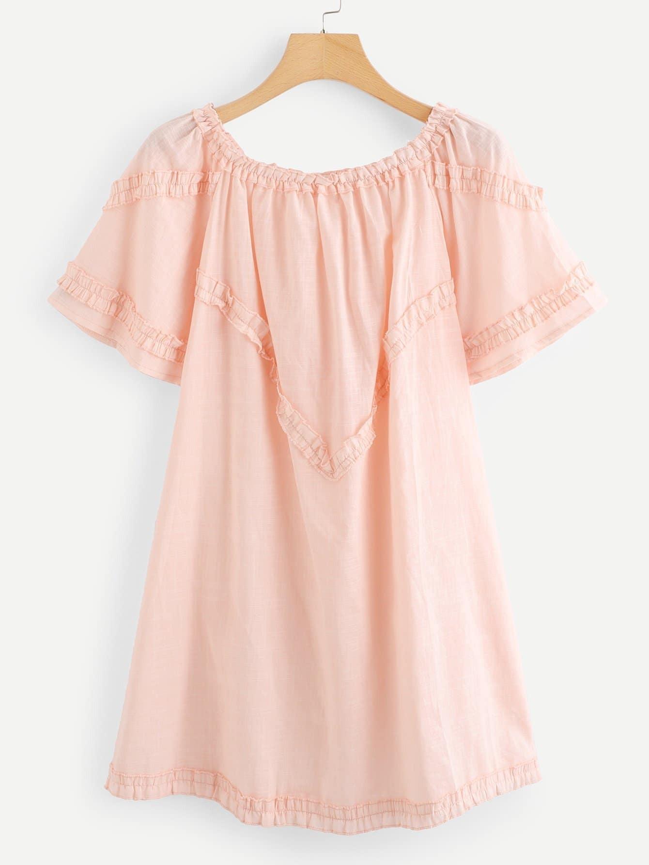Solid Off Shoulder Frill Trim Dress