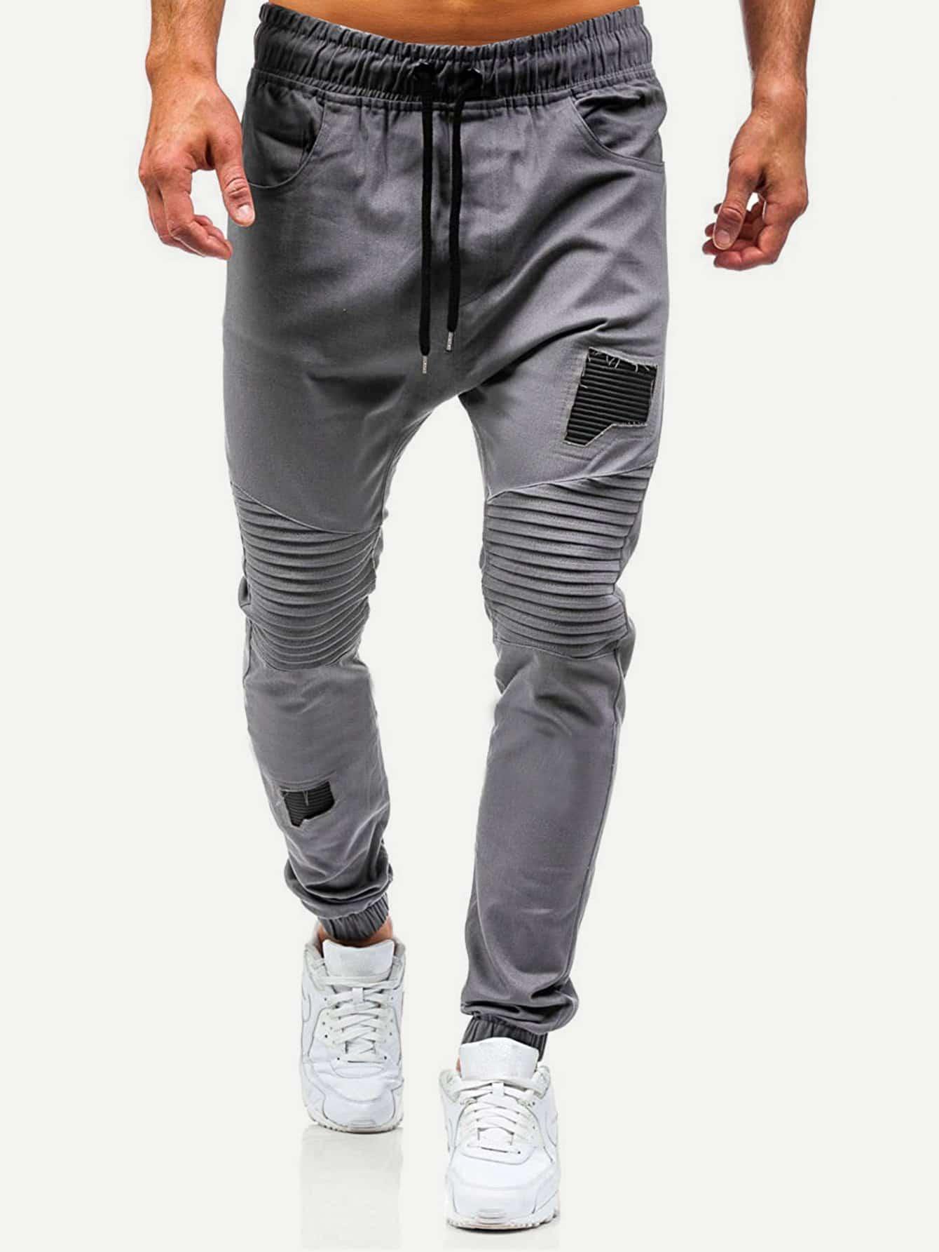 Men Ruched Plain Drawstring Pants