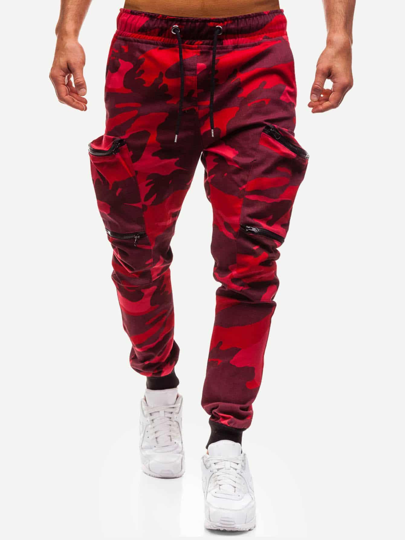 Купить Камуфляж Карман Ржаво-коричневый Мужские брюки, null, SheIn