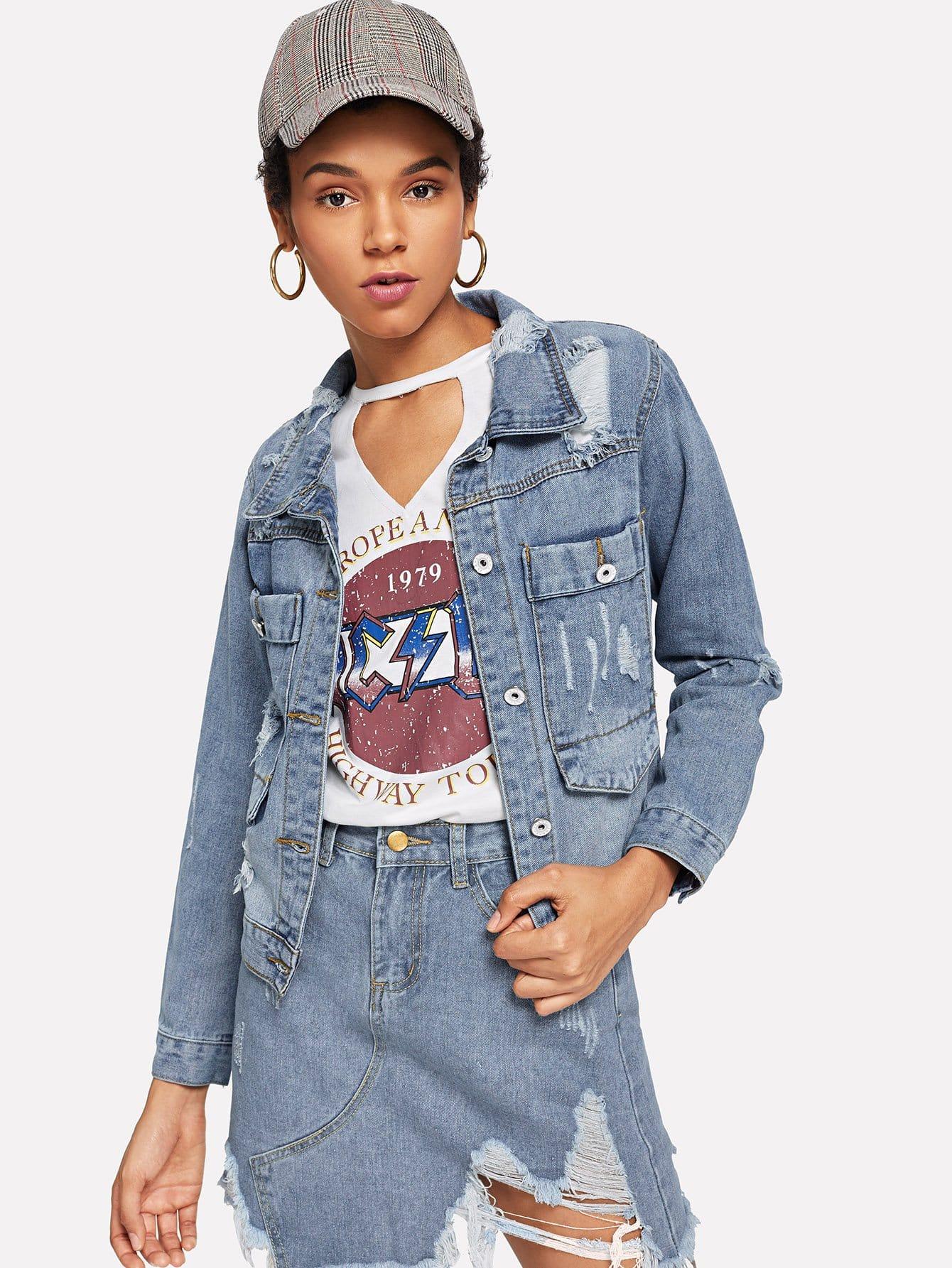 Купить Повседневный Одноцветный с карманами Синий Джинсовые куртки, Ana, SheIn