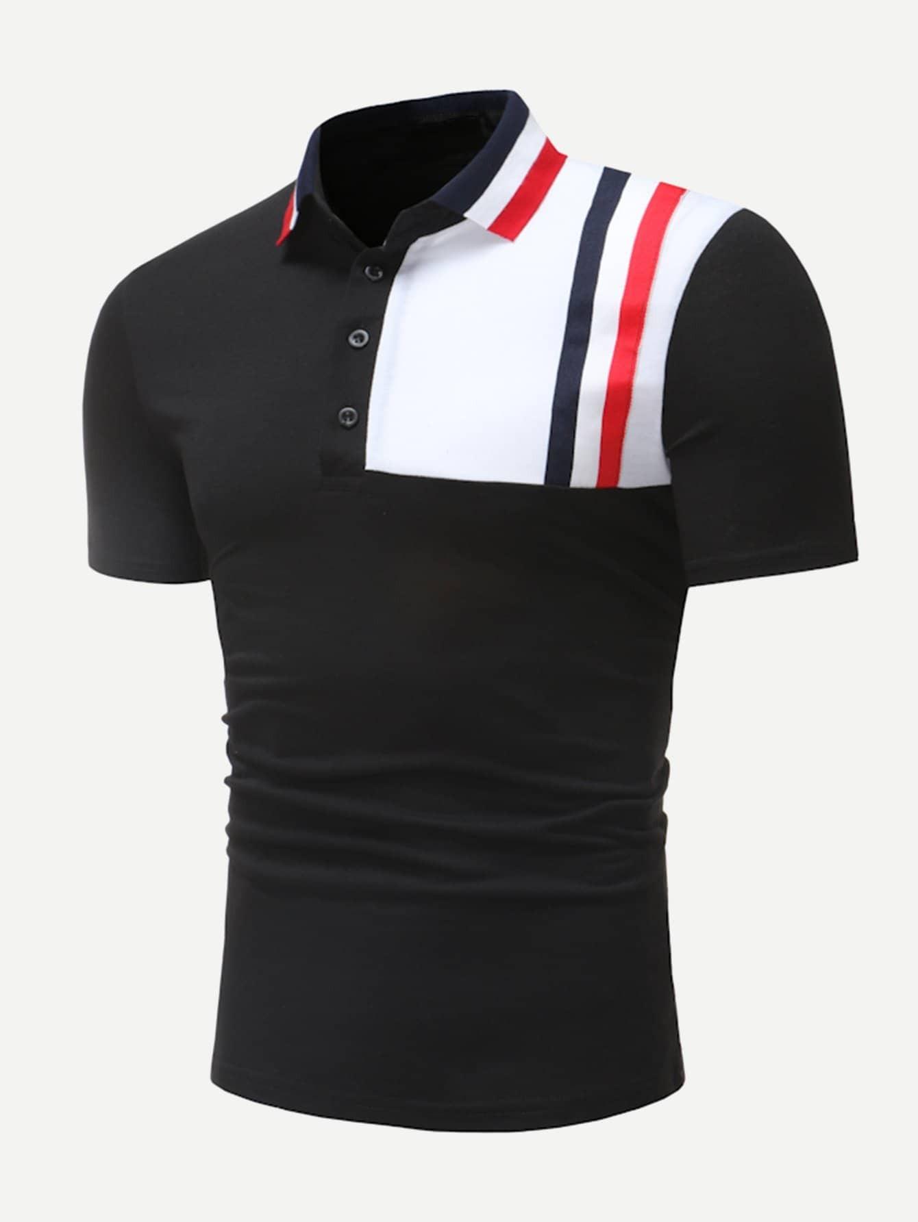 Купить Контрастный цвет Чёрный Мужские рубашки поло, null, SheIn