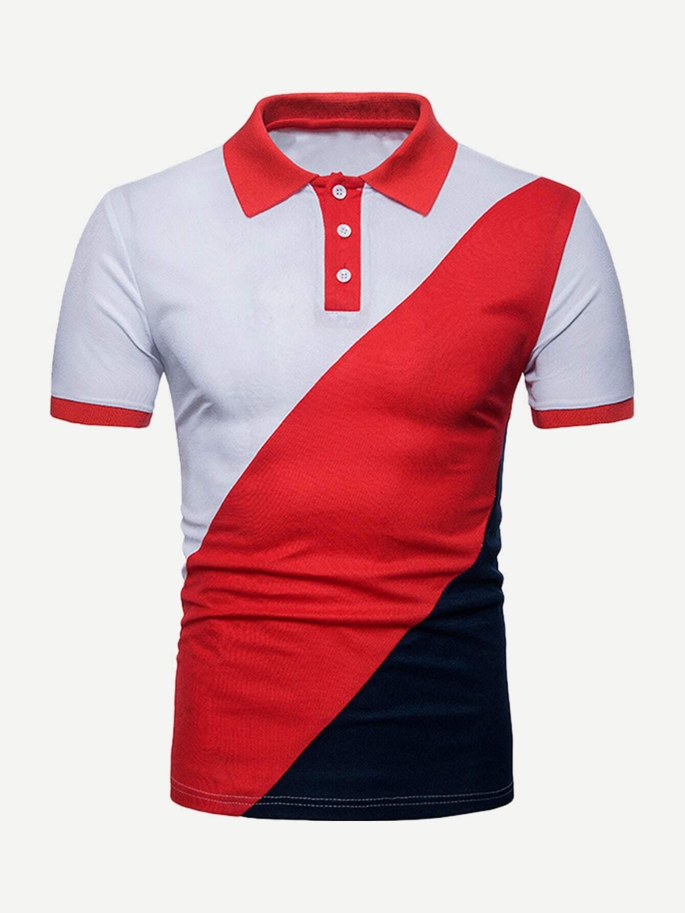 Купить Контрастный цвет Красный Мужские рубашки поло, null, SheIn