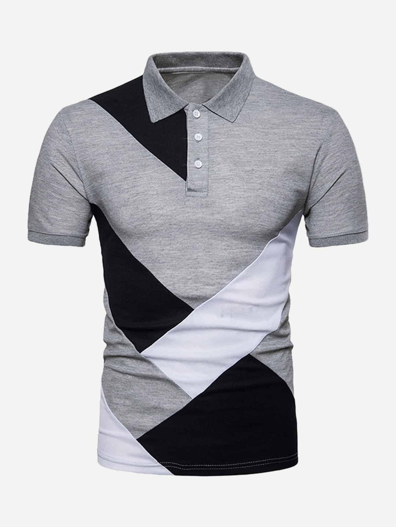 Купить Контрастный цвет Серый Мужские рубашки поло, null, SheIn