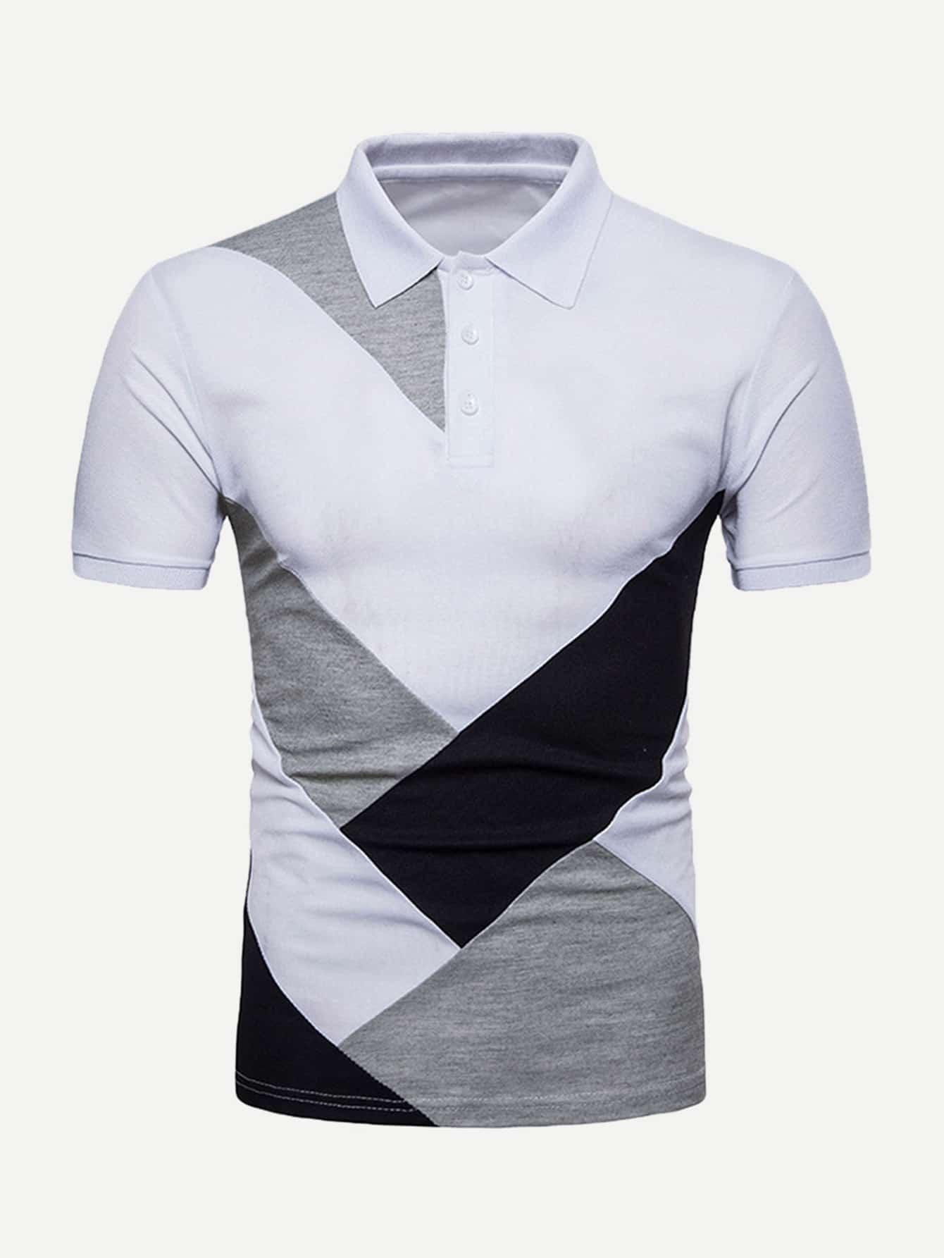 Купить Контрастный цвет Белый Мужские рубашки поло, null, SheIn