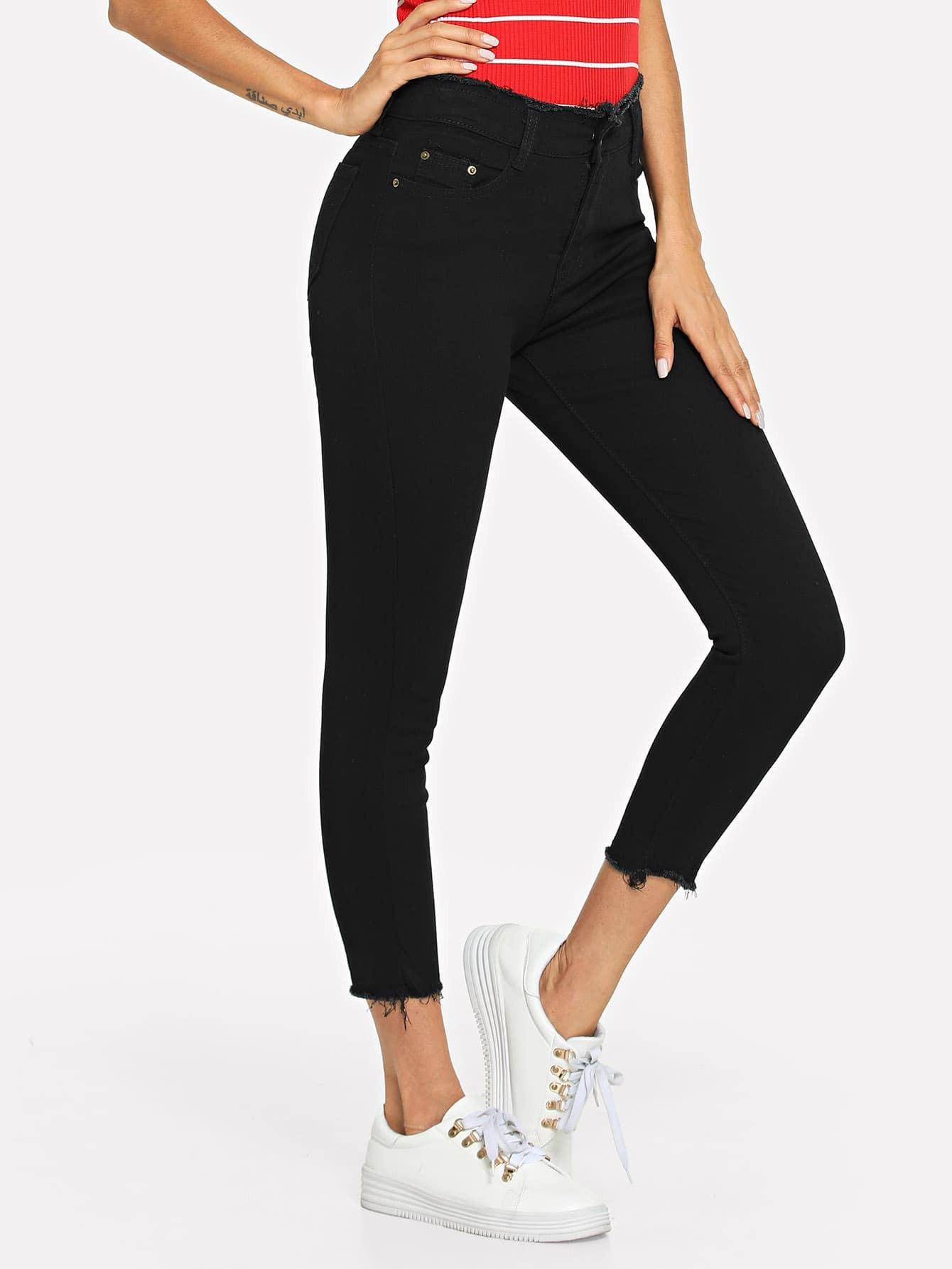 Solid Raw Hem Skinny Jeans