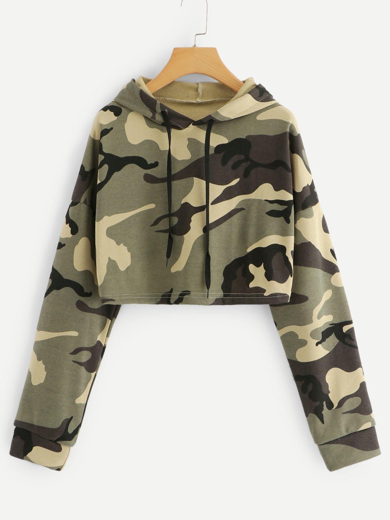 Drop Shoulder Camo Print Hoodie