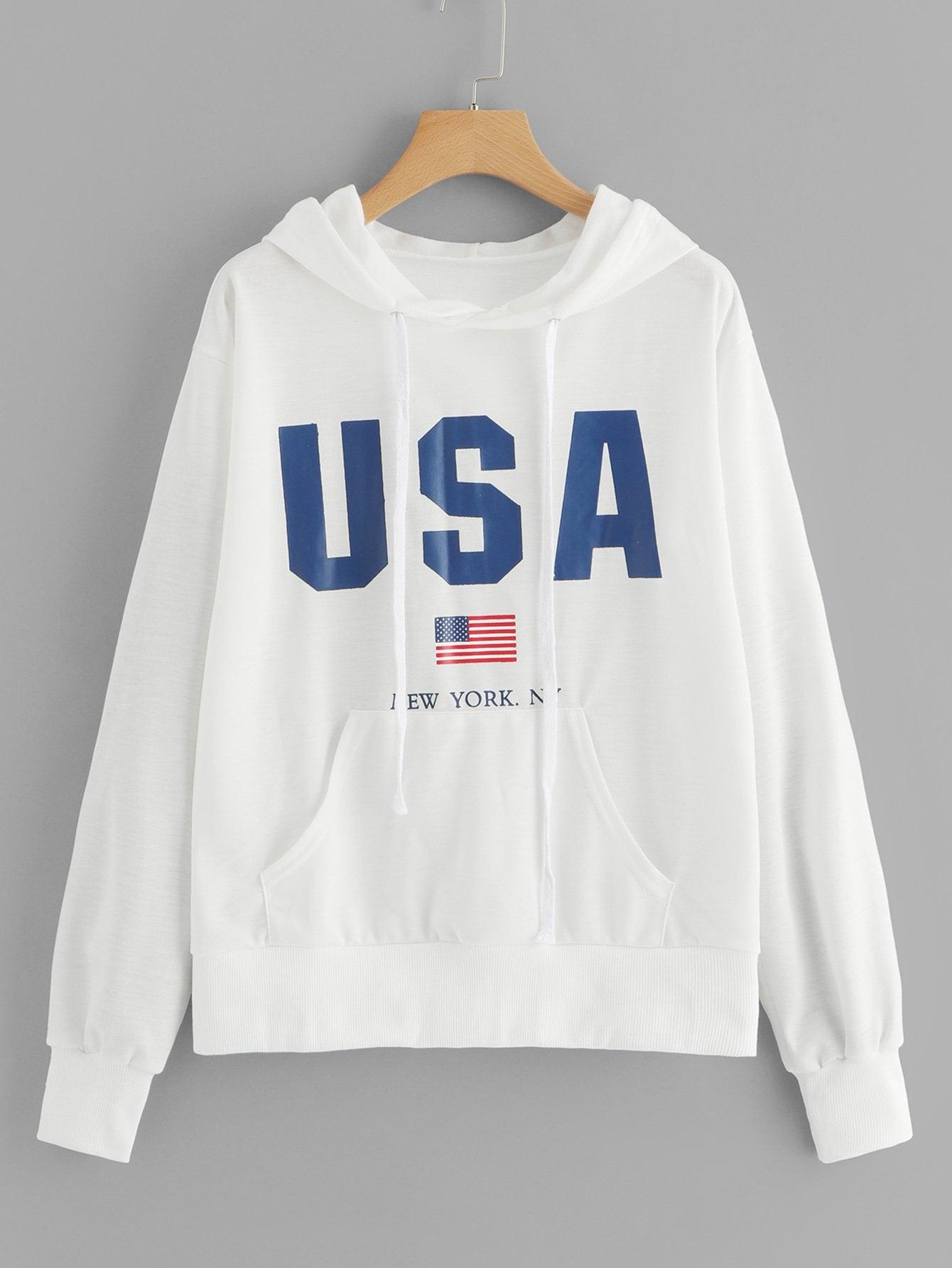 Повседневный Текст на кулиске Пуловеры Белый Свитшоты