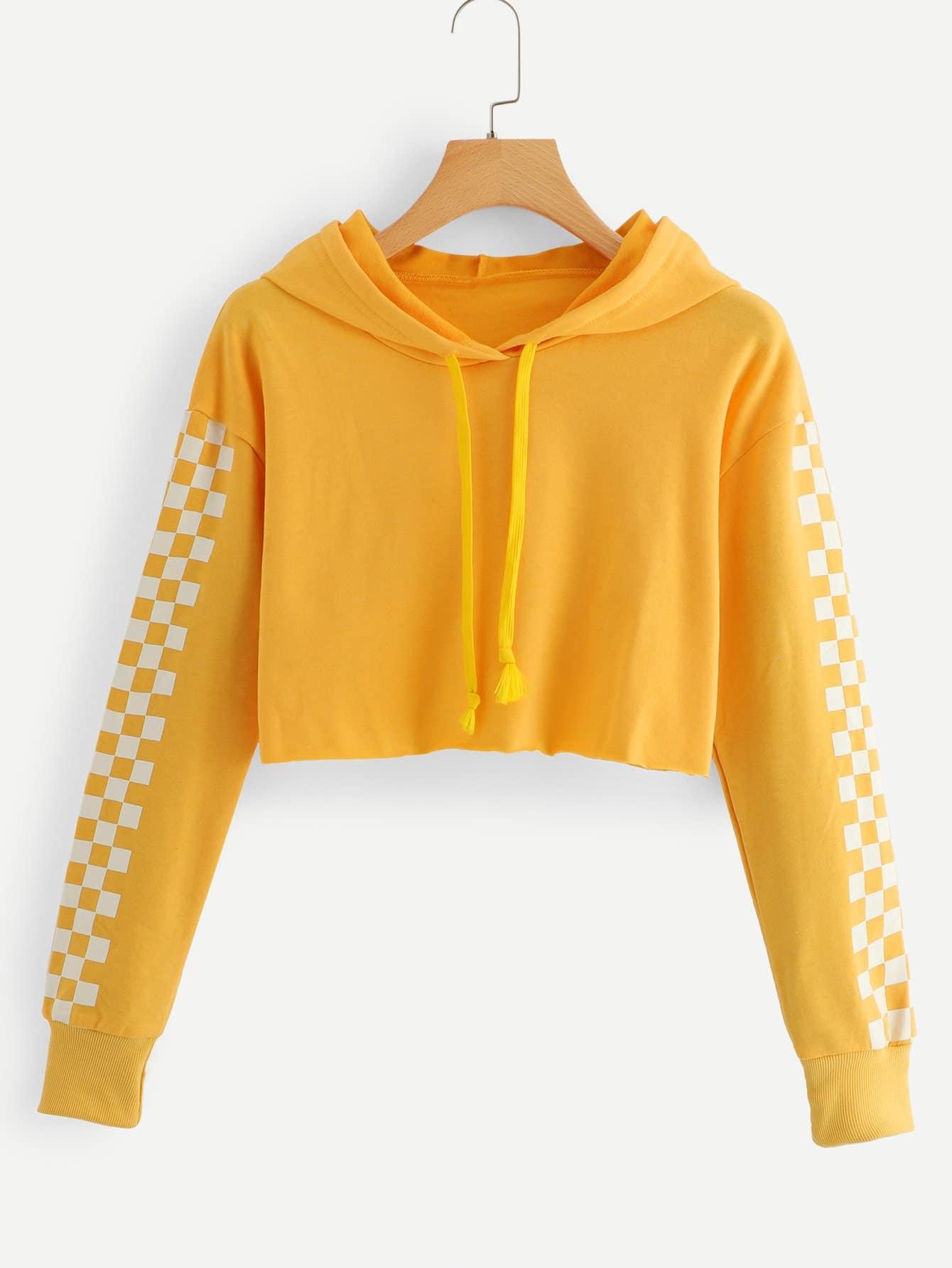 Купить Повседневный Клетка на кулиске Пуловеры Желтый Свитшоты, null, SheIn