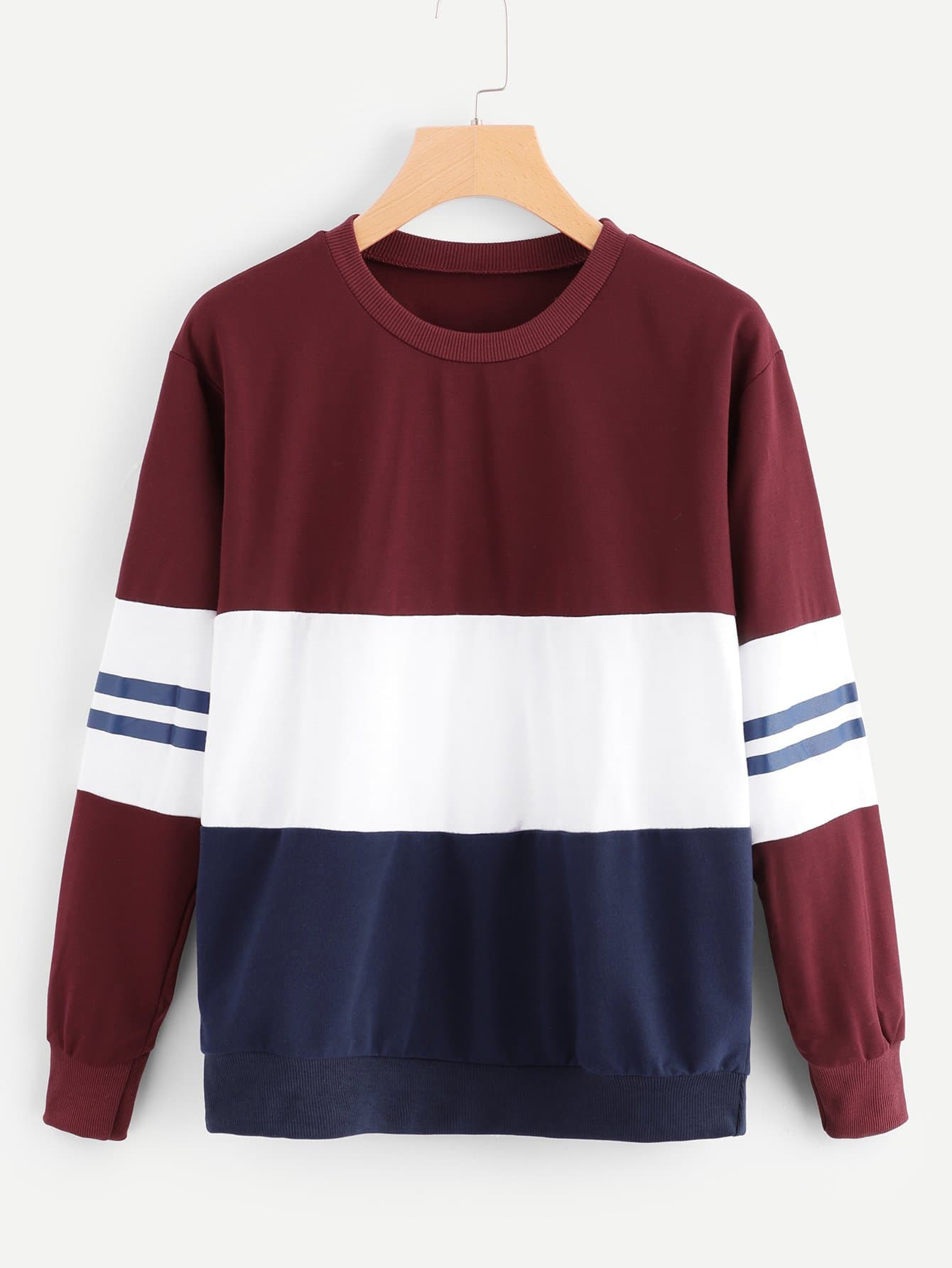 Striped Color Block Sweatshirt