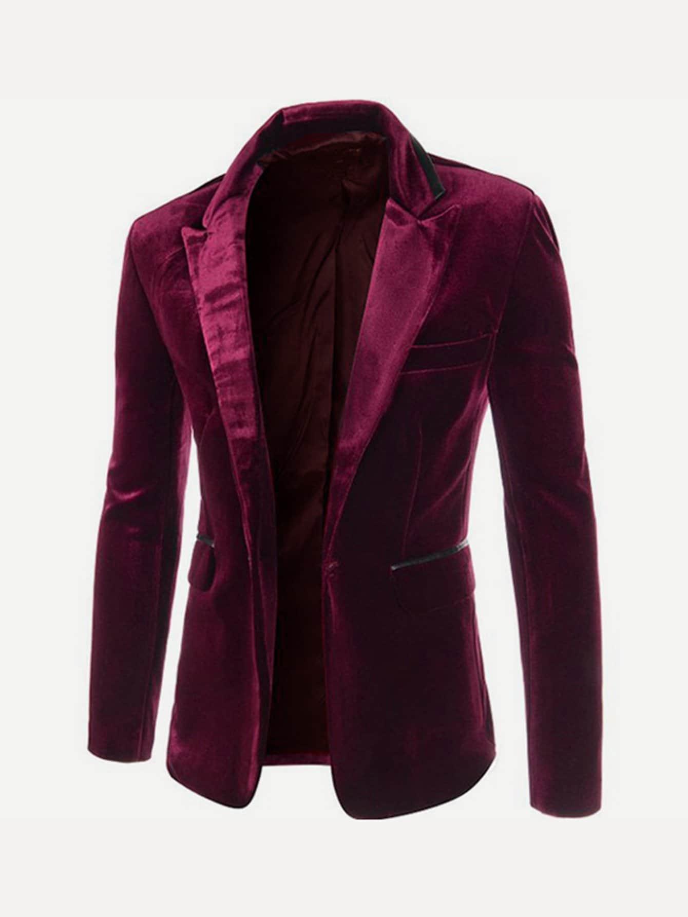 Купить Ровный цвет на пуговицах Бургундия Мужские блейзеры, null, SheIn
