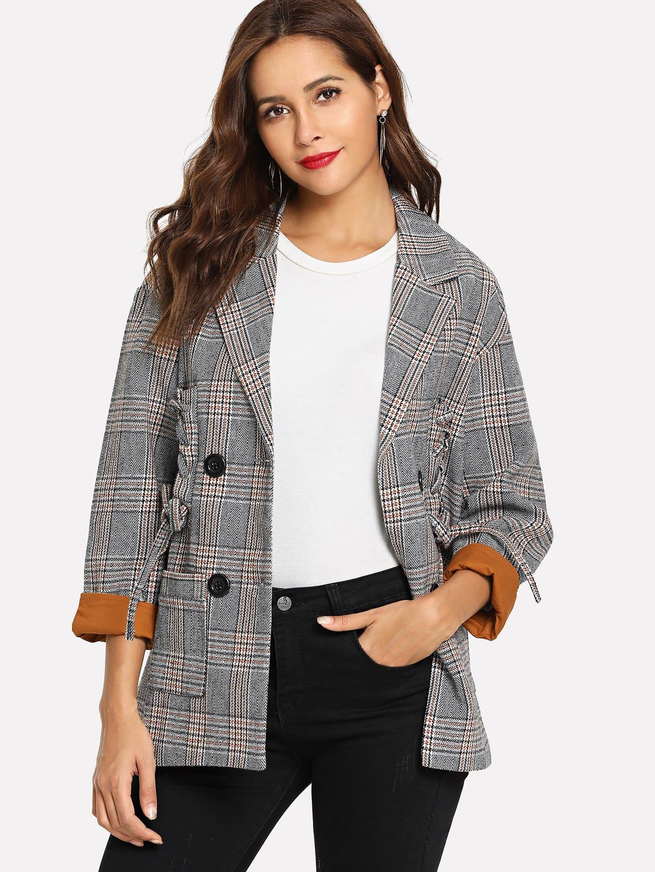 Single Breasted Lace Up Plaid Blazer snowflake christmas balls sparkling winter print waterproof table cloth