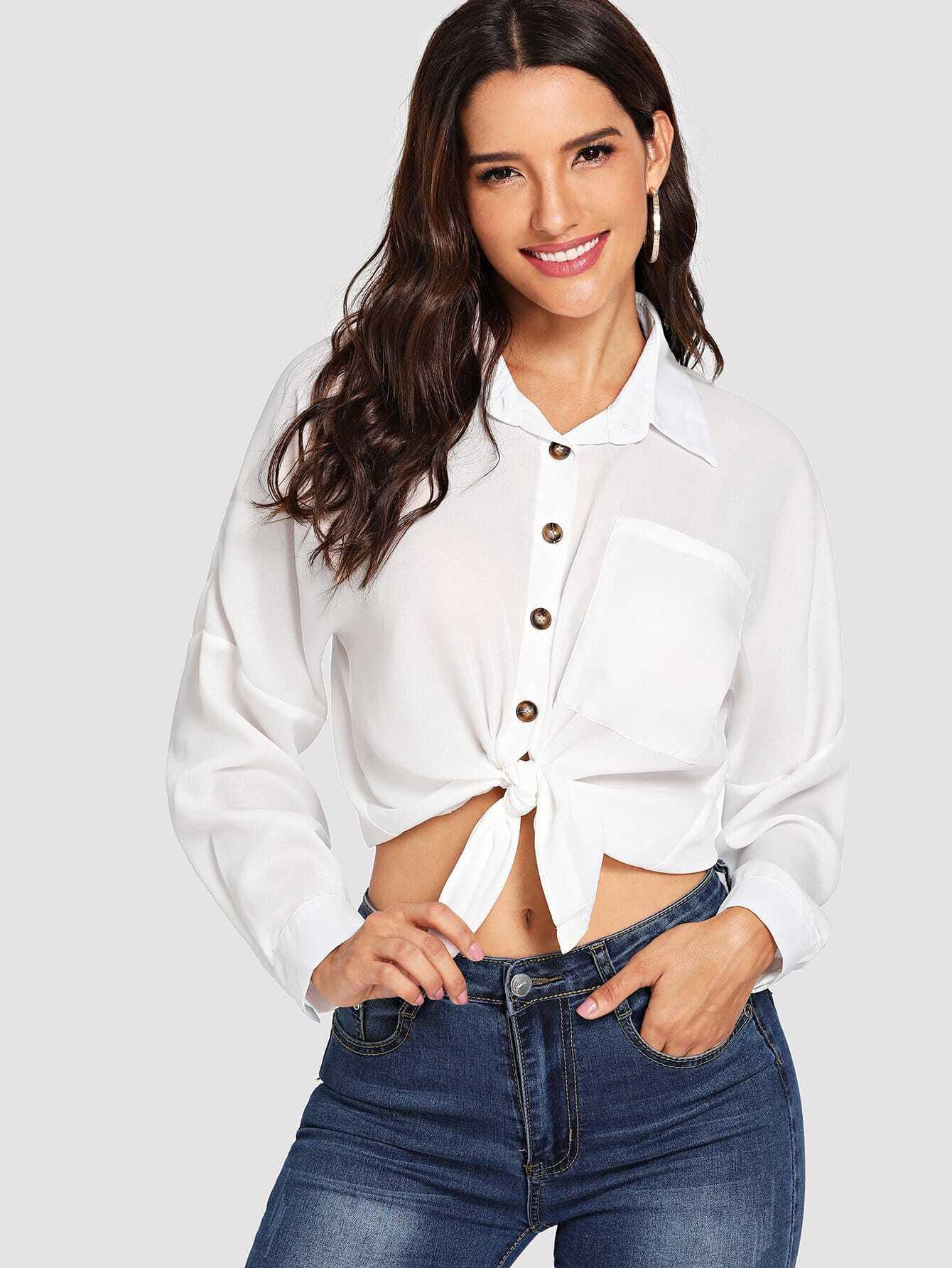 Купить Белый Пуговица Одноцветный Повседневный Блузы+рубашки, Juliana, SheIn