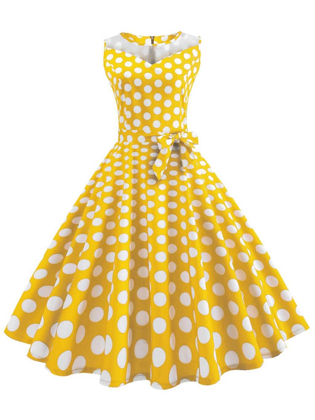 Ретро В горошек на молнии Жёлтые Платья SheIn