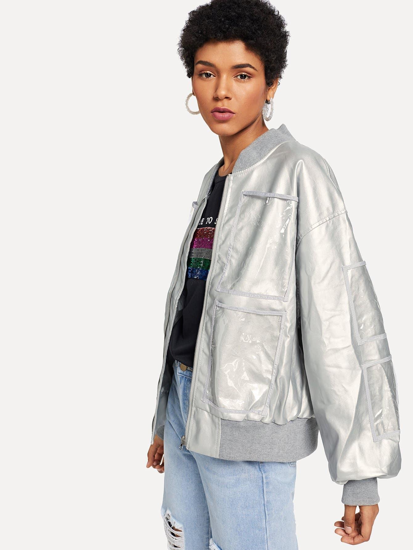 Купить Скала Одноцветный с карманами Серебряные Жакеты + Куртки, Ana, SheIn