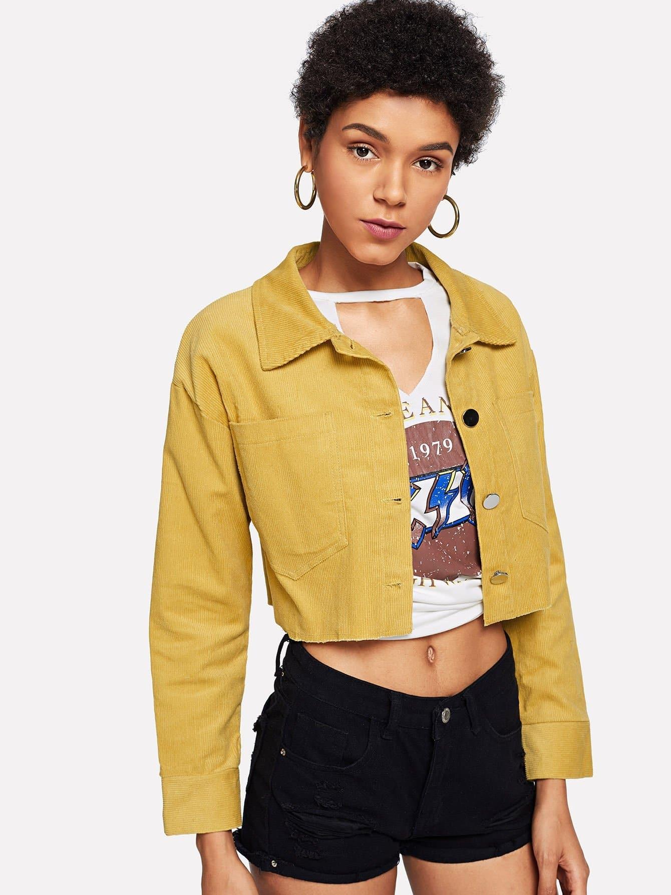 Купить Повседневный Одноцветный на пуговицах Имбирный Жакеты + Куртки, Ana, SheIn