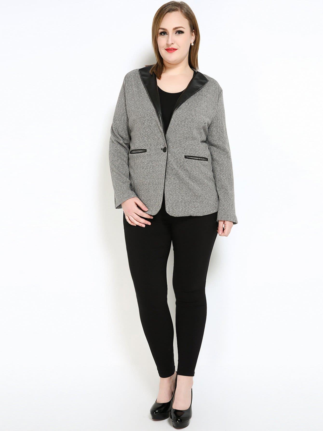 Plus Collar Pocket Decoration Coat