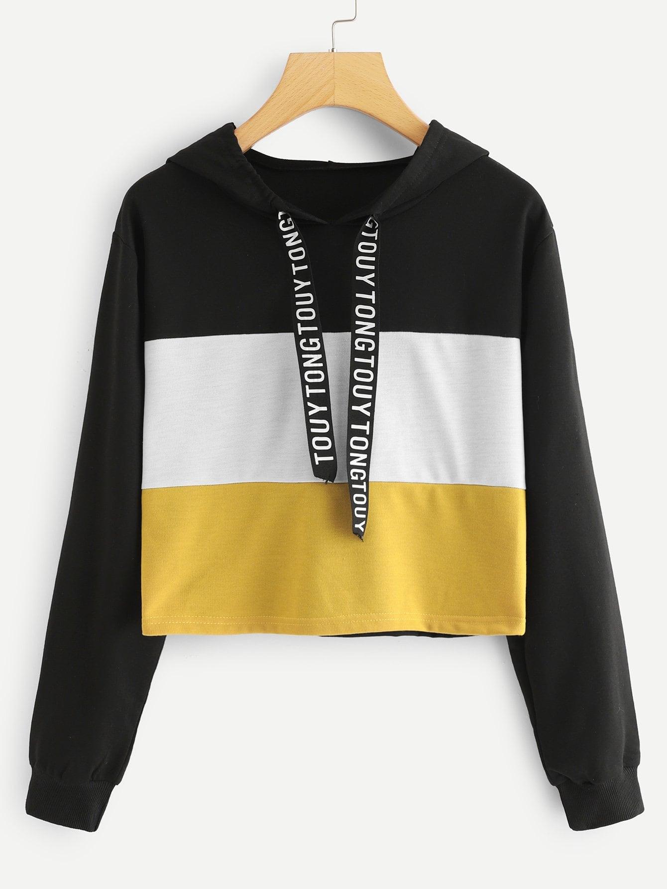 Купить Повседневный Текст Контрастный цвет Пуловеры Черный Свитшоты, null, SheIn