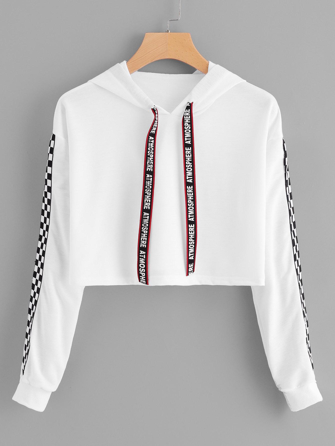 Letter Print Tape Drawstring Hoodie Plaid Sweatshirt