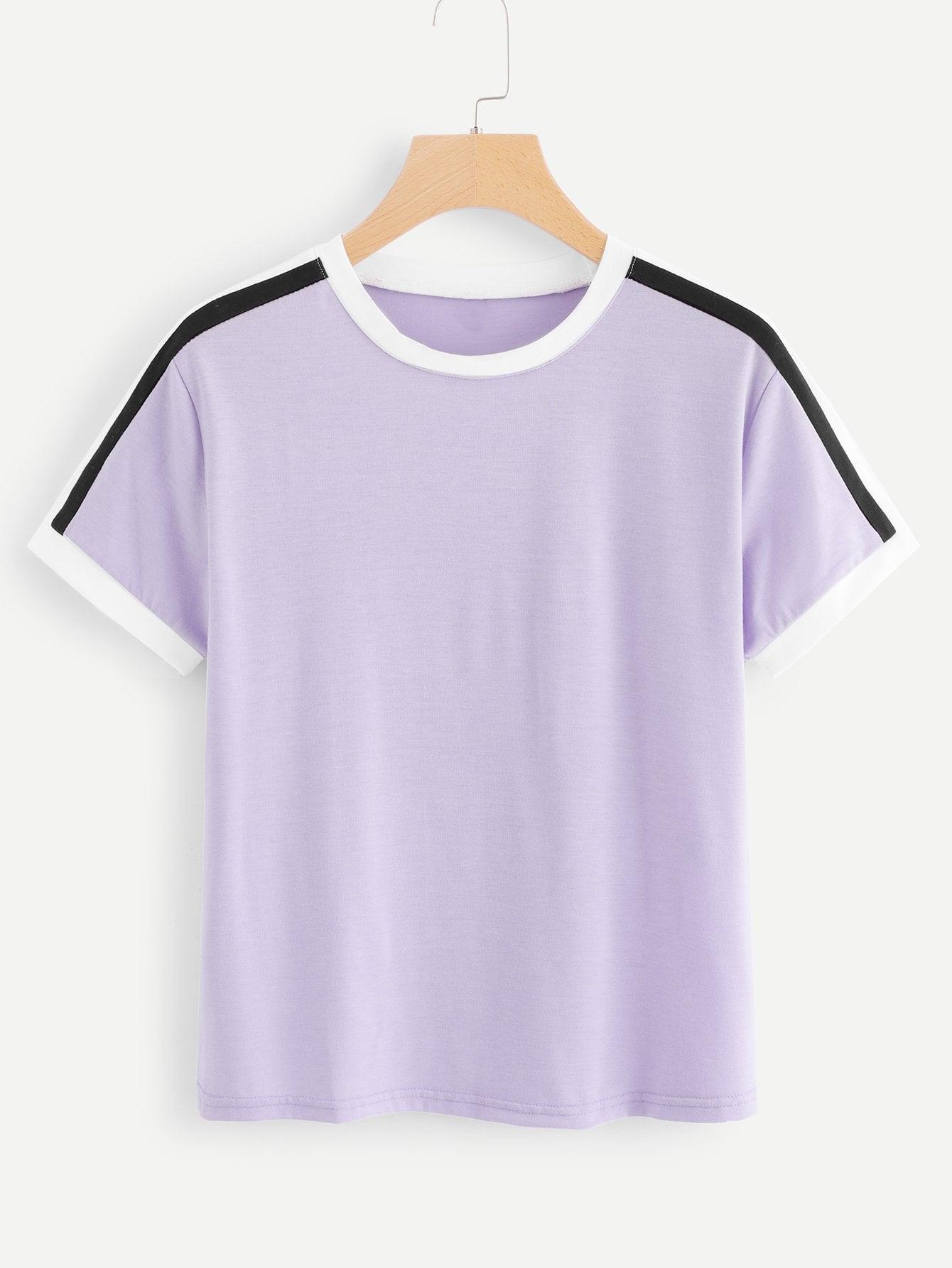 Купить Стиль кэжуал Полосатый Фиолетовый Футболки, null, SheIn