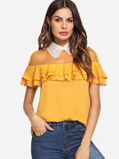 Pearl Embellished Mesh Yoke Tiered Blouse