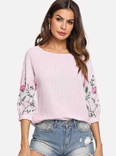 Drop Shoulder Floral & Striped Top
