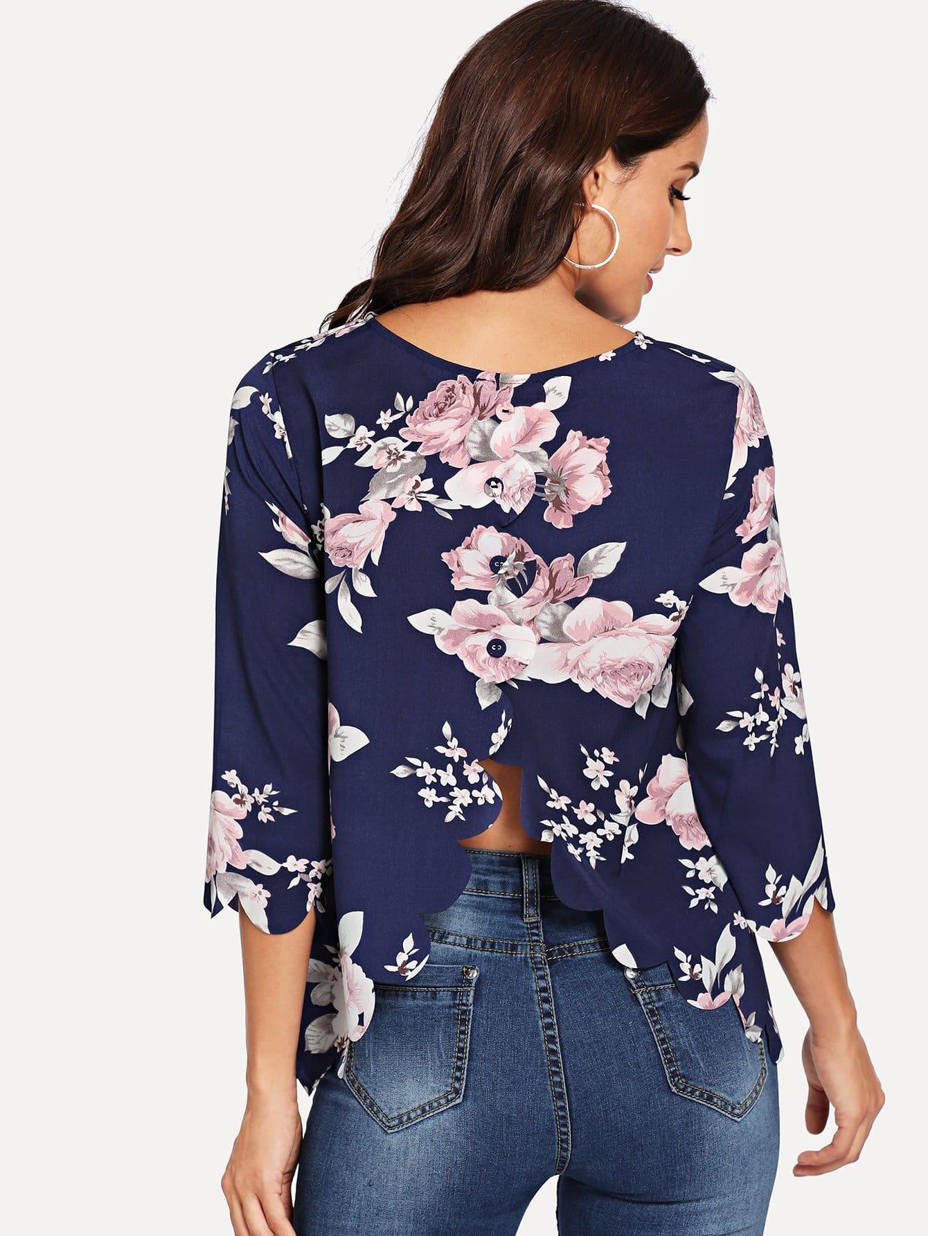 Купить Накрахмаленная рубашка с украшением веерообразных оборк и пуговиц, Juliana, SheIn