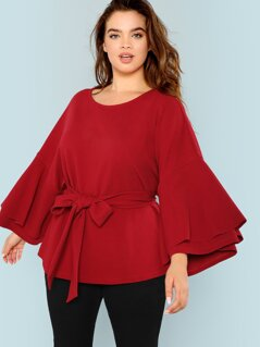 Plus Layered Flounce Sleeve Self Belted Top