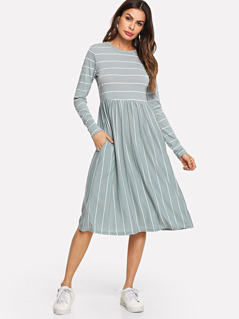 Mixed Striped Tee Dress