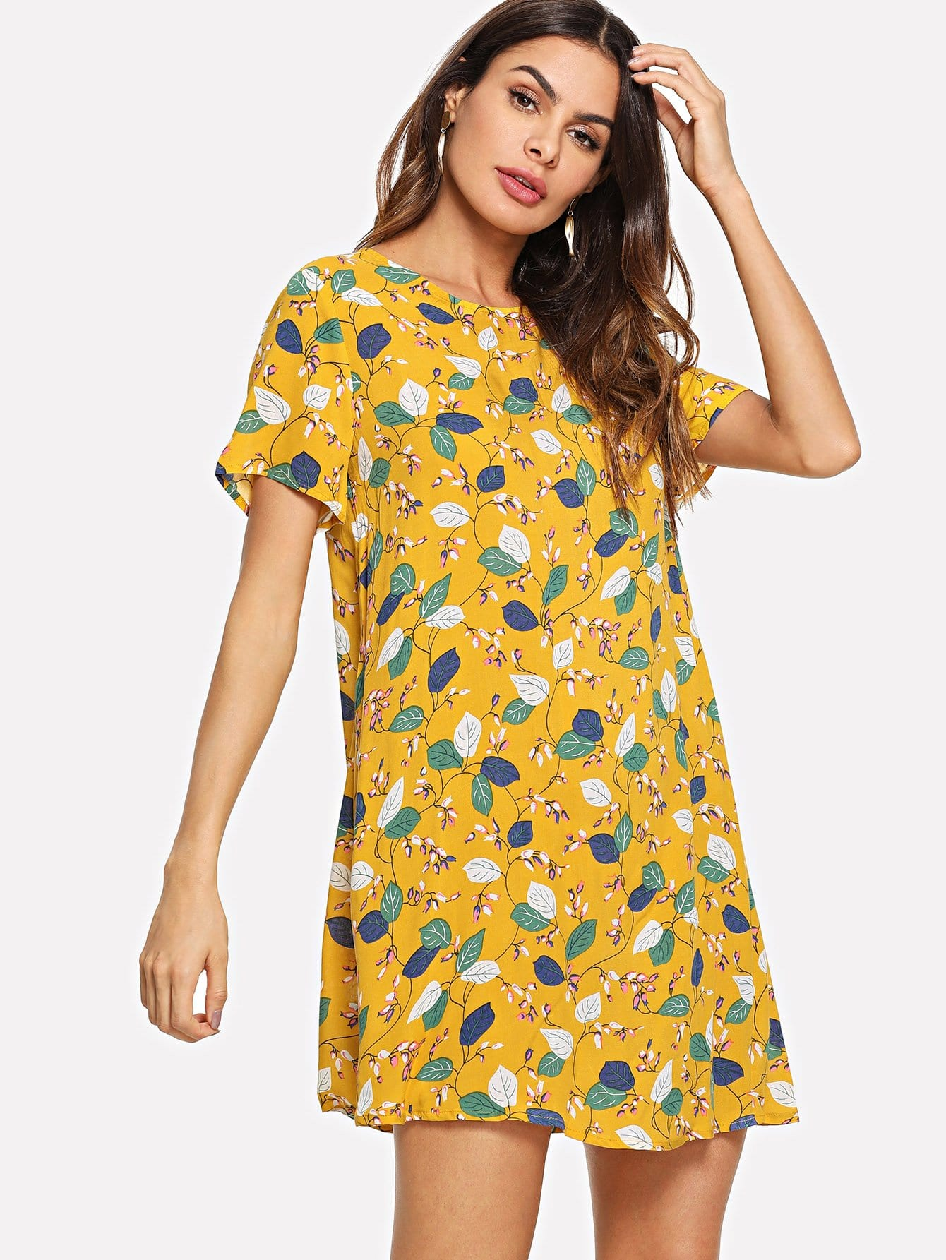 Allover Flamingo Print Dress