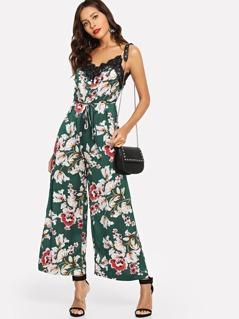 Lace Contrast Flower Print Cami Jumpsuit