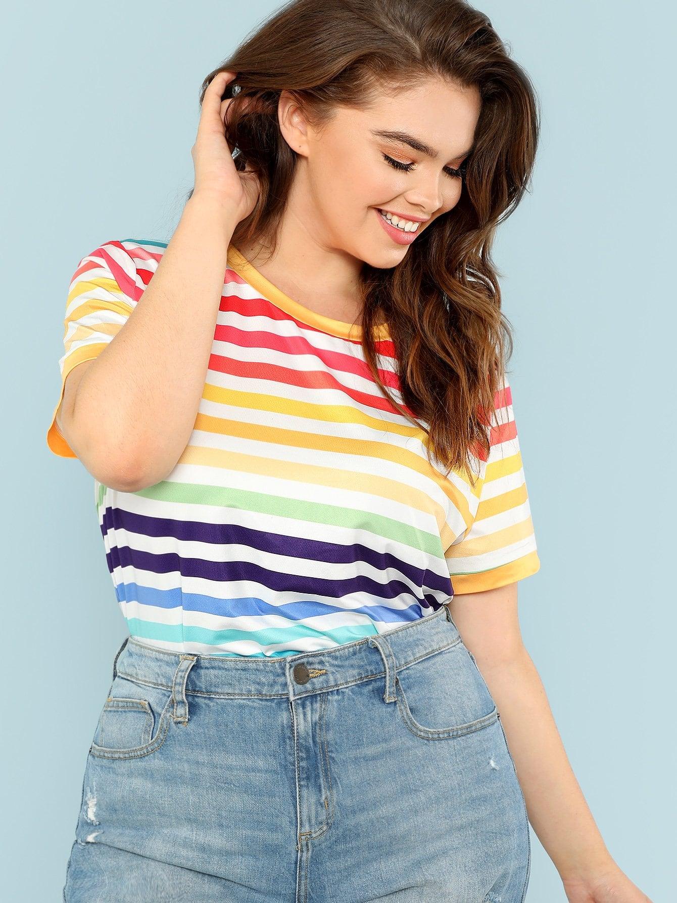 Купить Плюс Цветная полосатая футболка, Faith Bowman, SheIn
