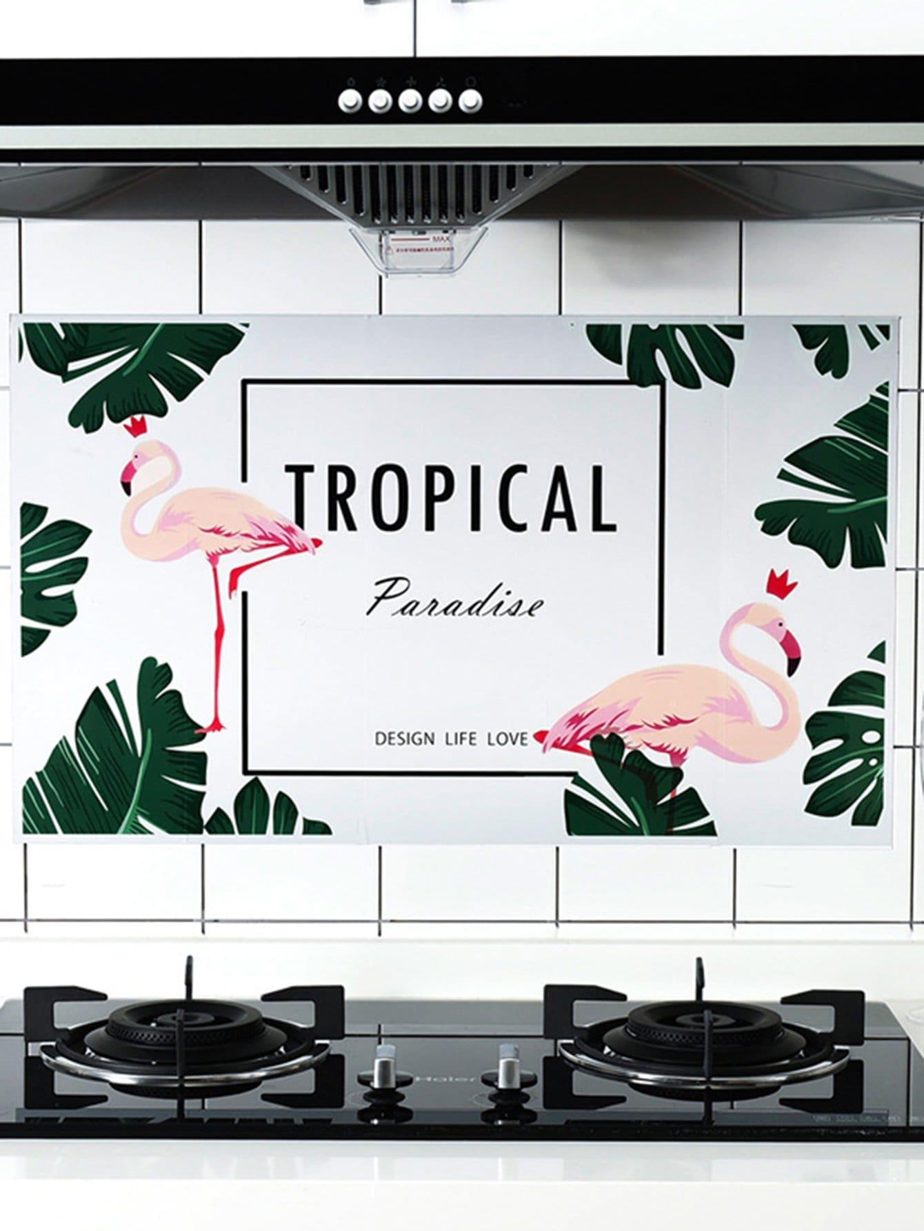 Купить Тропический & Фламинго стены стикер, null, SheIn