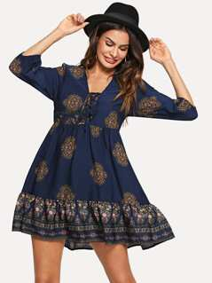Lace Up Front Ornate Print Smock Dress