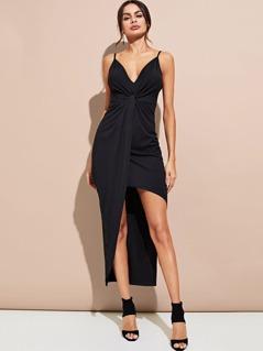 Twist Front Asymmetry Hem Cami Dress