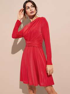 Ruched Cross Wrap Dress