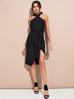 Halter Neck Solid Dress