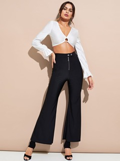 Exposed Zip Fly Flared Pants