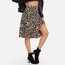 Ruffle Hem Leopard Print Skirt