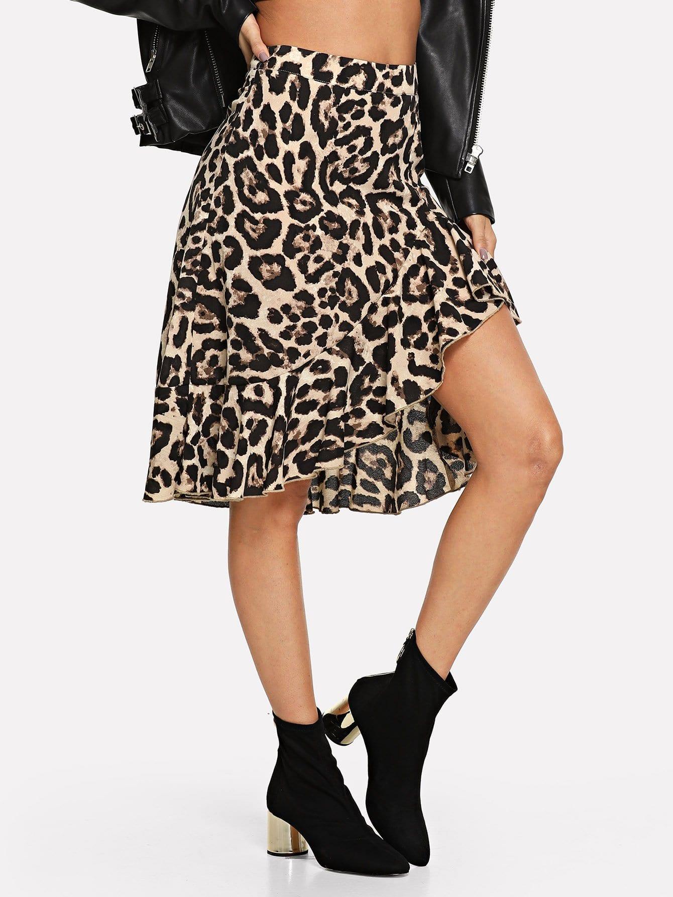 Юбки для шлема Ruffle Hem Leopard от SheIn