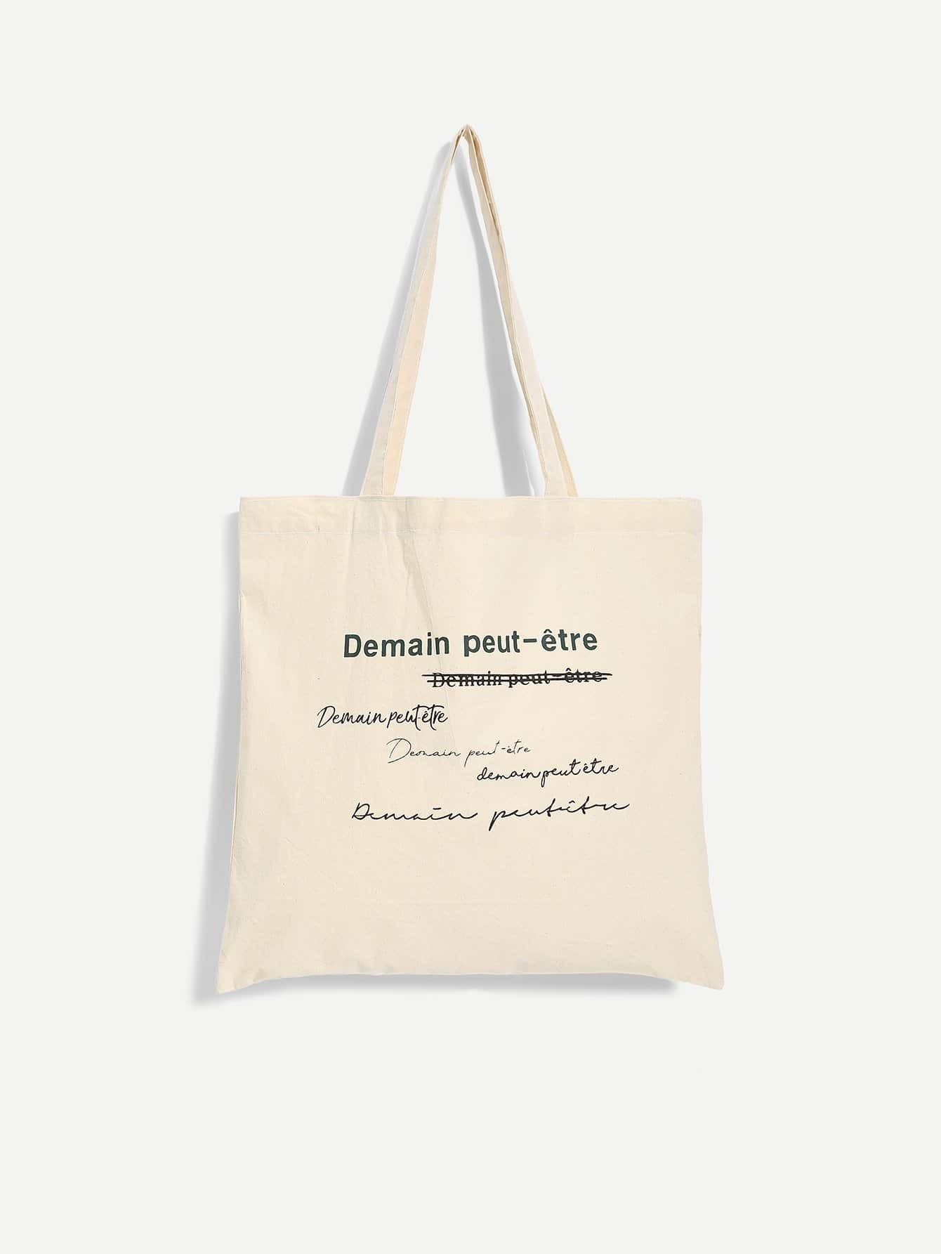 Купить Холст сумки с принтом лозунг, null, SheIn