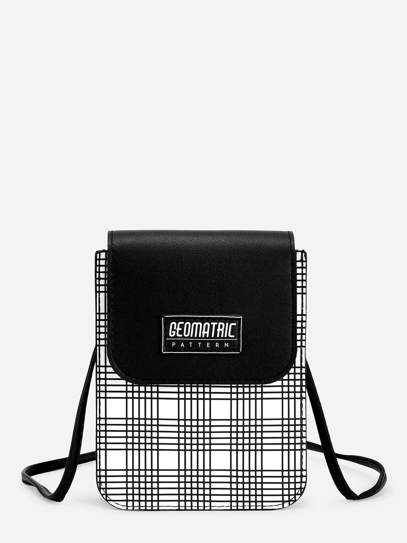 Купить Клетчатая PU сумка через плечо с крышей, null, SheIn